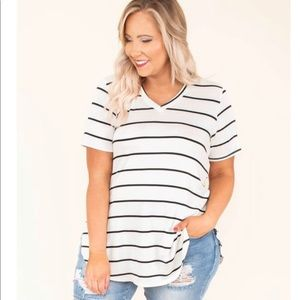 BNWOT XL 2X off white & black striped v neck tee